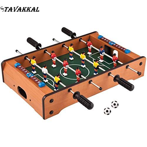 TEC TAVAKKAL 100% Orignal Wooden Mid-Sized Foosball, Mini Football, Table Soccer Game, 4 Rods Length 51cm , Width 31cm, Hight 10.5cm