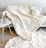 New La Reine Chunky Knit Blanket Chenille - Bundle with Knitted Throw Pillow - Bulky, Soft, Fluffy, Oversized Cable Braided Hand Knotted Throw for Sofa, Boho Gift (Ivory, 50' x 60')
