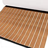 Cozyel EVA Faux Teak Decking Sheet for Boat Yacht Non-Slip and Self-Adhesive Boat Flooring Pad 94.5'× 35.4' Wood Brown