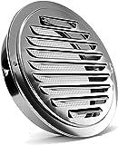 Rejilla de ventilación de acero inoxidable, FayTun rejilla de ventilación de aluminio,extracción de aire, con conexión de brida / tubería y protección contra insectos para ventilación de baño