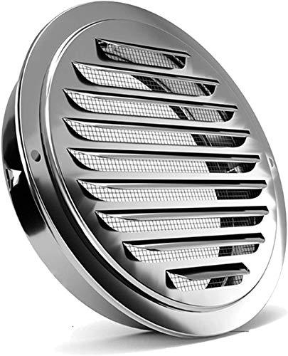 Rejilla de ventilación de acero inoxidable, FayTun rejilla de ventilación de aluminio,extracción de aire, con conexión de brida   tubería y protección contra insectos para ventilación de baño