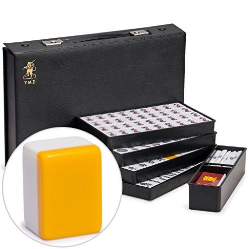 Yellow Mountain Imports Juego de azulejos japoneses Riichi Mahjong de tamaño estándar blanco y amarillo con funda de vinilo negro, con azulejos de viento oriental, juego de palos de apuestas y dados