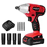 PowerSmart Impact Wrench, 20V Cordless Impact Wrench, 1/2' Impact Driver, Max Torque 220N.m, 0-1800RPM Variable Speed Battery Impact Drill Driver, Li-ion Battery and Fast Charger Included, PS76142A
