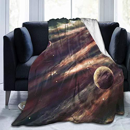 Manta mullida, planetas sobre nebulosa de gas, imagen mística de la galaxia, ultra suave, manta para dormitorio, cama, TV, manta para cama de 80 x 60 pulgadas