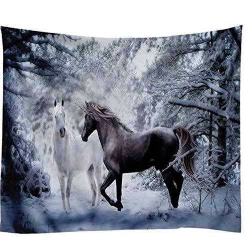 Zbzmm Schnee- und Pferdedekorations-Tapisserie-Wandbehang-Hintergrund-Stoff-Weihnachtspsychedelische Wand-Teppich-Campingzelt-Reisematratzen