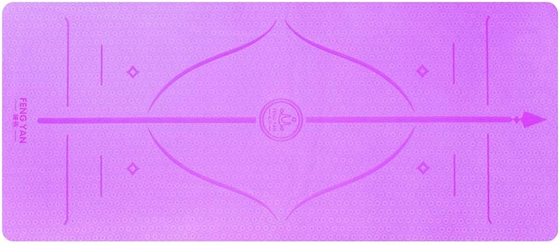 Tapis de Yoga TPE Tapis de Yoga allongeant Large Tapis de Yoga 80CM épaississant antidérapant Tapis de Fitness pour débutant JSSFQK (Couleur   Violet)