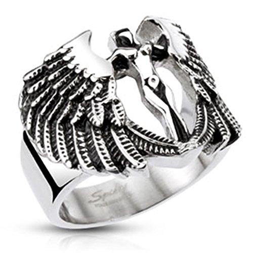 BlackAmazement, anello unisex in acciaio inox, con arcangelo e ali di dea, Goddess, argento e Acciaio inossidabile, 63 (20.1), cod. -