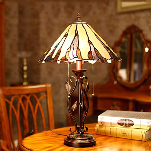 Tiffany Tafellamp, kristallen parels, glasplaatje, schaduw, bureaulamp, naast slaapkamer, woonkamer, decoratie, lamp met trekkoord schakelaar, 40 x 60 cm