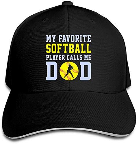 NJAAN Women's Men's My Favorite Softball Player Call Me Dad Adult Adjustable Trucker Cap,Black,One Size