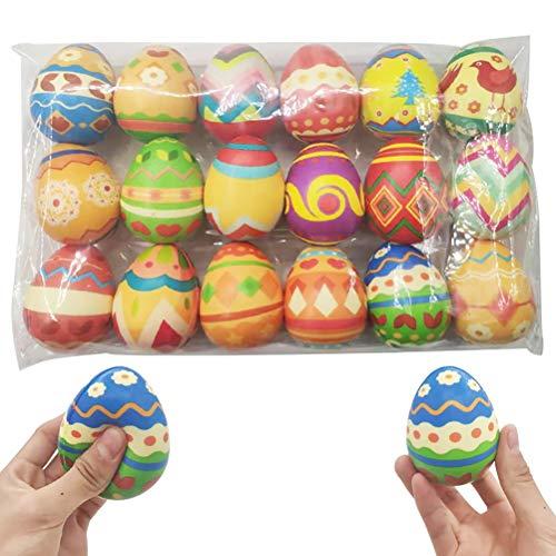 Squishy Toys, 18 piezas Squishies Huevos de Pascua Jumbo Huevos de crecimiento lento Huevos de Pascua coloridos de crecimiento lento Regalo Alivio del estrés Canasta, Color aleatorio