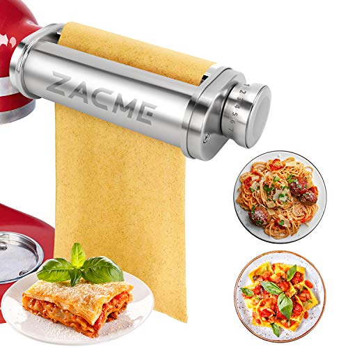 Pasta Maker Attachment for KitchenAid Stand Mixers ZACME Washable Stainless Steel Pasta Sheet Roller Durable Pasta Maker Accessories for Ravioli Lasagna with Cleaning Brush Silver