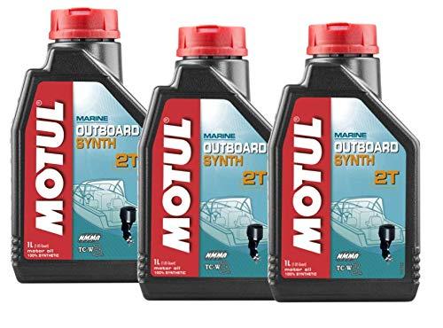 MOTUL Lubricantes para motor 2 Tiempos Fuera Borda 100% sintético Outboard Synth 2T, Pack 3 litros