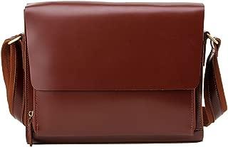 "NYDZDM Office Flap Handbag Retro Leather Business Briefcase 9.7"" Tablet Messenger Crossbody Satchel Bag Brown"
