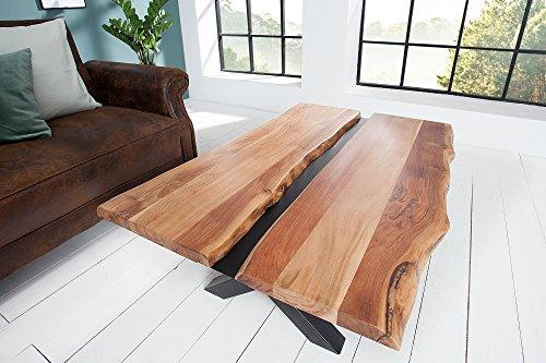DuNord Design salontafel root 120 cm boomstam acacia massief hout salontafel woonkamertafel houten tafel metaal zwart natuur boomstam