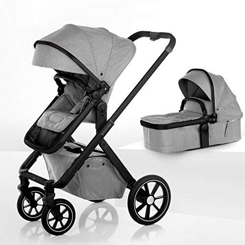 BEQOONI® Kinderwagen 2 in 1 Kombikinderwagen mit Babywanne & Buggy/Sportaufsatz, kleines Klappmaß, Panoramafenster in Babywanne und Verdeck, Farbe: Volcano Grey