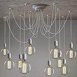 Lampadario moderno a forma di ragno bianco edison a 10 luci
