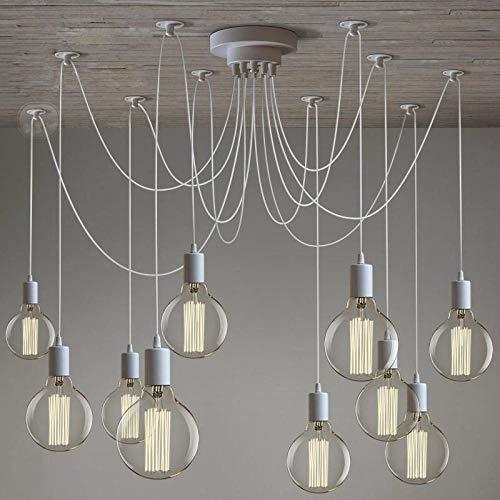 Lampadario moderno a forma di ragno bianco edison a 8 luci