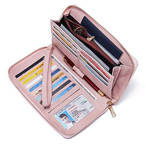 Geldbörse Damen Leder Gross Frauen Clutch Portemonnaie Groß Geldbeutel Lang Portmonee mit 15 Kartenfächer Rosa