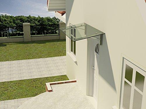 Glasvordach Winkel 120 cm Tiefe Edelstahl Haustürüberdachung Sicherheitsglas 13,14mm Eingangsbereich VSG, Glasart:Klarglas, Größe:175 x 120 cm