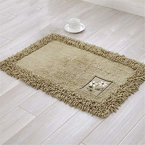YLSF Chenille Bath Rugs Soft Fluffy and Absorb Microfiber Shag Rug, Non-Slip Runner Carpet for Bathroom Shower Mat, Machine-Washable Durable,Brass,19.7in31.5in