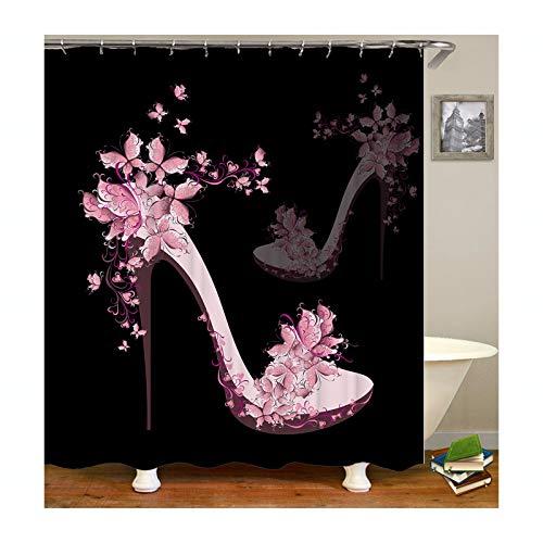 Bishilin Antischimmel Duschvorhang 180x200 Hohe Schuhe mit Blumen Lustiger Duschvorhang Polyester-Stoff