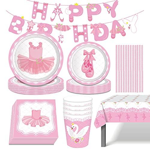 Suministros de Fiesta de Cumpleaños para Niñas, 71Pcs Vajilla Rosa con Banner, Platos, Vasos, Servilletas, Paja, Mantel, Vajillas de Cumpleaños Decoracion Baby Shower