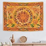 Burning Sun Tapestry Flower Vines Tapestries Vintage Floral Tapestry Mystic Tapestry Hippie Tapestry Wall Hanging for Room (51.2 x 59.1 inches)