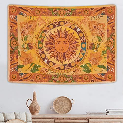 Yugarlibi Brennende Sonne Wandtuch, Vintage Blumen Wandteppiche, Orange Blumen Reben Mystische Hippie Wandbehang für Schlafzimmer Wohnzimmer, 150x130 cm
