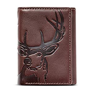 HOJ Co. Deer Classic Trifold | Men's Leather Trifold Wallet | Deer Wallet | Camou Lining