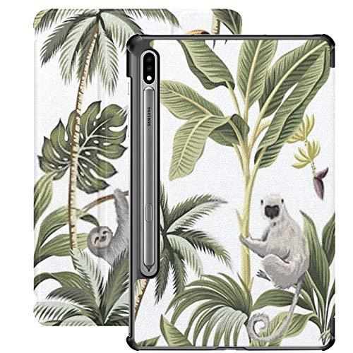 Funda Samsung Galaxy S7 con Soporte para bolígrafo S Tropical Vintage Animals Toucan Palm Trees PU Funda de Cuero para Samsung Galaxy Tab S7 de 11 Pulgadas 2020, Funda para Samsung Galaxy Tab S7 con