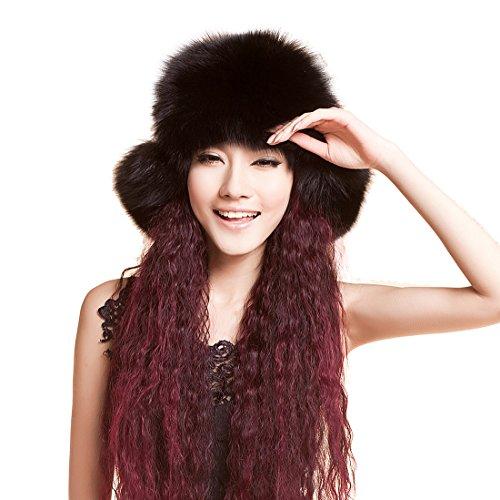 URSFUR 多様式 レディス ふわふわ 防寒 冬季節 リアルな フォックスファー フルスキル ロシア帽 純色 耳当て ファーハット ファーキャップ ファーニット 毛皮帽子 ぼうし ボウシ 黒い