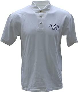 Mens Lambda Chi Alpha Founders Polo Shirt Large White