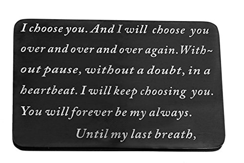 Laser Marking Stainless Steel Wallet Love Note Insert, Metal Wallet Card Insert i choose you until my last breath