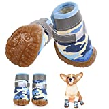 LETSQK Dog Shoes, Winter Dog Boots with Reflective Straps, Rugged Rubber Anti-Slip Sole Dog Snow Boots for Small Dogs 4 PCS, Blue, 3