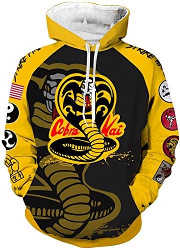Chaos World Herren Cobra Kai Hoodie Karate Kid Kapuzenjacke 3D Druck Reißverschluss Sweatshirt (Hoodie Cobra,XL)