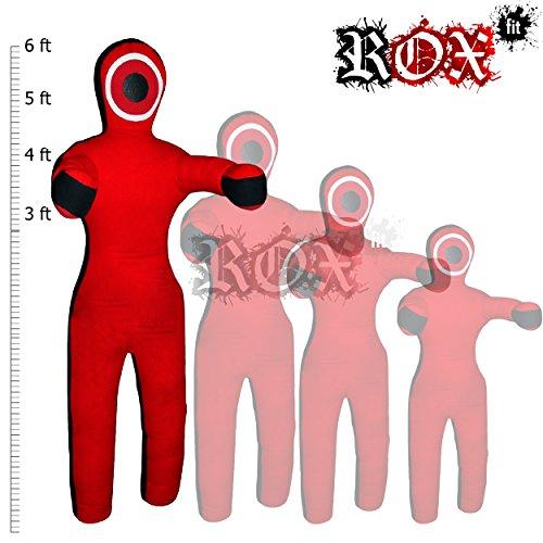 Rox Fit Grappling dummy realista recto estilo brasileño jiujitsu bolsa de entrenamiento (3m, 4ft, 5ft, maestra (sin relleno), rojo y negro
