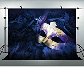 FLASIY Masquerade Party Photography Background 10x7FT Purple Mask Backdrops for Birthday Party Decoration Photo Studio Props GEAY358