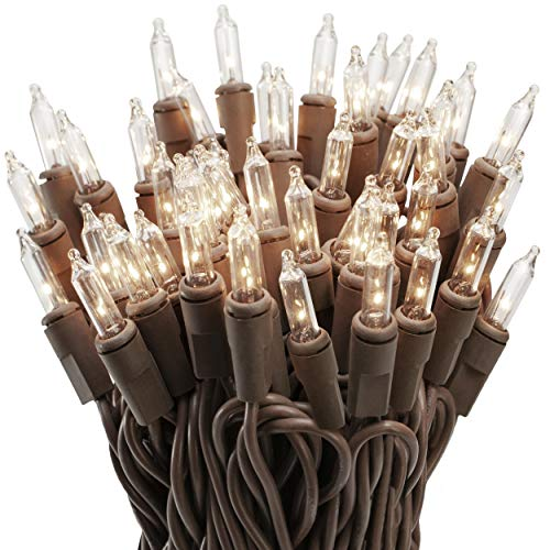 612 Vermont 100 Clear Mini Christmas String Lights on Brown Wire Cord, UL Approved for Indoor / Outdoor Use, 18 Foot of Lighted Length, 20 Foot of Total Length