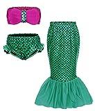 AmzBarley Filles Maillot de Bain Queue de Sirène Fille Enfant Princesse Maillots Bikini Cosplay Costume 3 Pièces Plage Vacances Fête Déguisement Ensemble