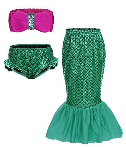 AmzBarley Sirenita Traje Baño Fiesta Sirena Bañador Bikini Set Niña Cumpleaños Princesa Disfraz Vereno Nadar Niña 3 Piezas Top Cortos 3-4 Años