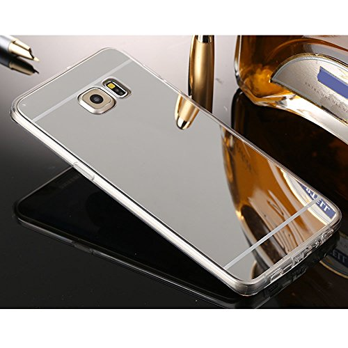 Sycode Coque Galaxy S6 Edge,Galaxy S6 Edge Silicone Housse,Ultra Mince Doux Coque en Effet Miroir pour Samsung Galaxy S6 Edge-Argent
