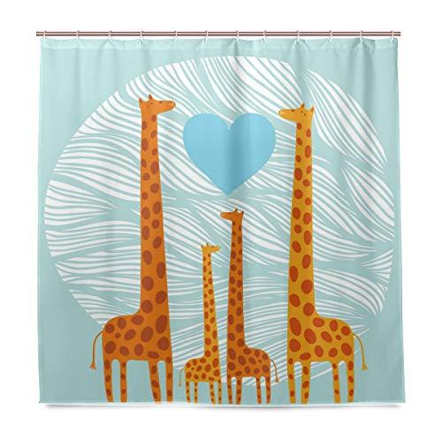 BIGJOKE Duschvorhang, Giraffe, Familie, Herzen, schimmelresistent, wasserdicht, Polyester, 12 Haken, 183 x 183 cm, Heimdekoration