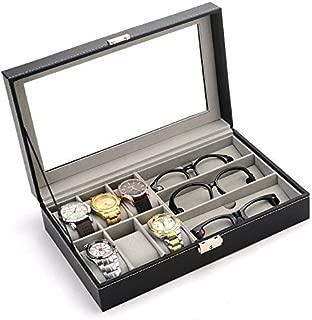 PENGKE 6 Slots Watch Organizer and 3 Slots Glasses Storage Case,Black Pack of 1