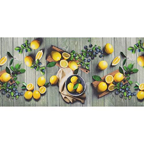 WohnDirect Passatoia Funzionale da Interno Fino a 10 m di Lunghezza – Tappeto Cucina – Passatoia per la Cucina Durevole, Antiscivolo e Facilmente Lavabile – Tappeto Bagno – Lemon — 50x120cm