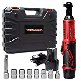 Toolman 3/8' 12V 1.3A Cordless Ratchet Wrench Set with 2PCs Batteries ZTP025