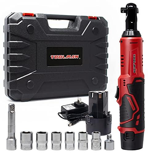 Toolman 3/8″ 12V 1.3A Cordless Ratchet Wrench Set with 2PCs Batteries