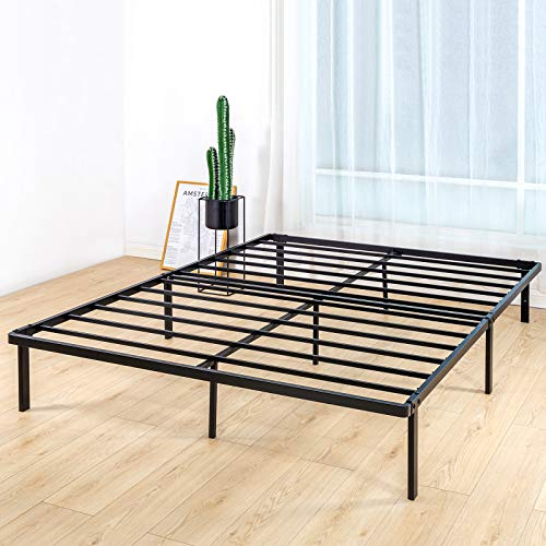 BedStory Queen Bed Frame, 14 Inch Double Metal Platform Bed Frame, Easy Assembly Mattress Foundation, No Box Spring Needed, No Noise, Non-Slip Design - Queen Size