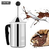 Manfore milchaufschäumer, schaumbecher, Milchschäumer Manuell Betrieben, Doppel-Mesh-Schaum-Mixer Leicht zu schäumen für Kaffee, Milch