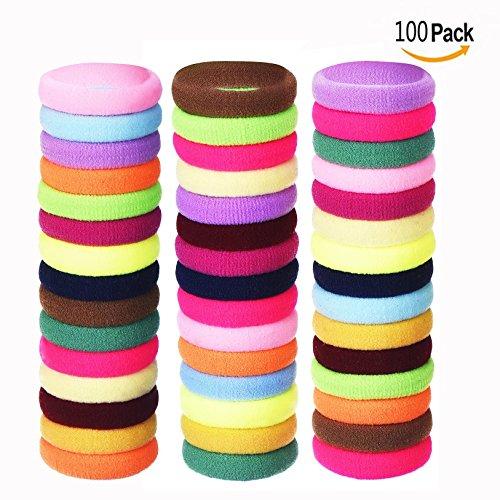 Cisixin 100 pezzi Fasce Elastici per Capelli, elastici per legare i capelli a coda per Ragazze o Donna, Colori Assortiti