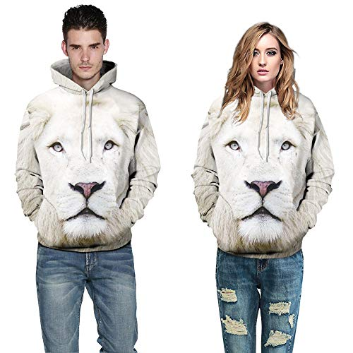 yyqx container Unisex Hoodie 3D Print Kordelzug Pullover Große Tasche Weißer Tiger Like 3D Sweater Hoodie, XL